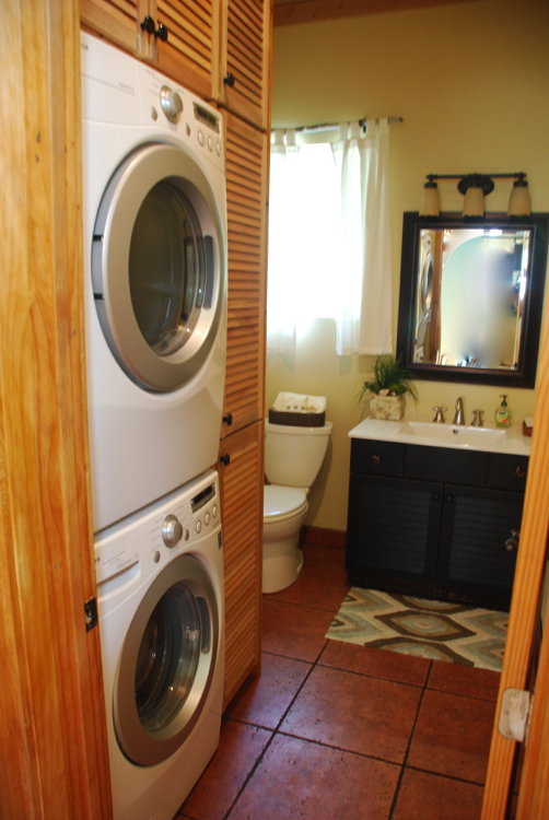 Powder Room With New Double Decker Washer Dryer
