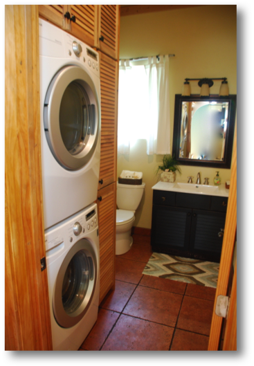 Powder room with new double decker washer / dryer