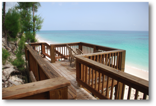 Deck overlooking beach, staircase to the Atlantic